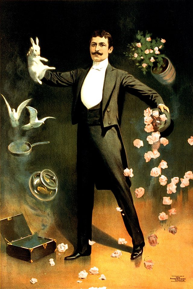 Mágica e Ilusionismo: Zan Zig performing with rabbit and roses, magician poster, 1899